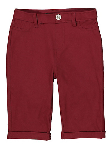 Girls 7-16 Hyperstretch Bermuda Shorts | Burgundy,WINE,large