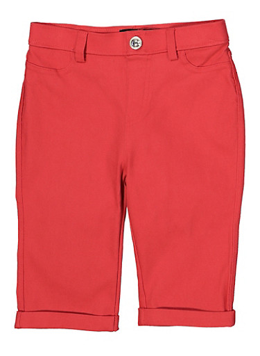 Girls 7-16 Hyperstretch Bermuda Shorts | Coral,CORAL,large