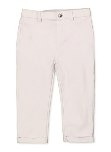 Girls 7-16 Hyperstretch Fixed Cuff Jeggings | White,WHITE,large