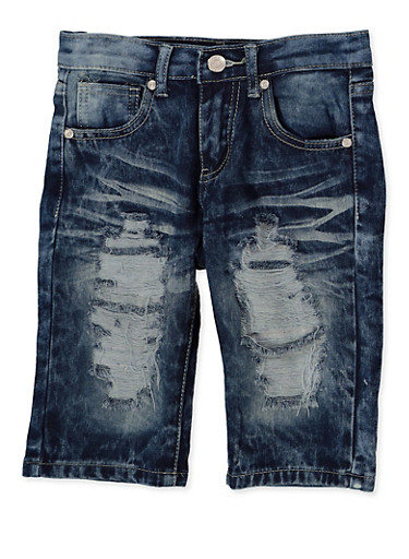 Girls 7-16 Destruction Denim Bermuda Shorts,DENIM,large