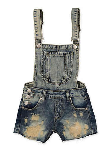 Girls 7-16 Raw Hem Destruction Denim Shortalls,DENIM,large