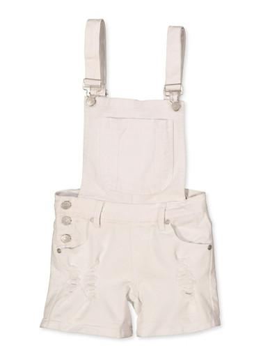 Girls 7-16 Frayed Denim Shortalls | White,WHITE,large