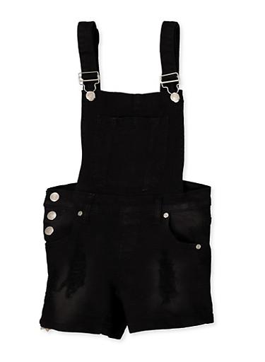 Girls 7-16 Frayed Denim Shortalls | Black,BLACK,large