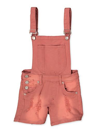 Girls 7-16 Frayed Denim Shortalls | Mauve,MAUVE,large