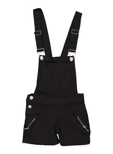 Girls 7-16 Zip Detail Hyperstretch Shortalls | Black,BLACK,large