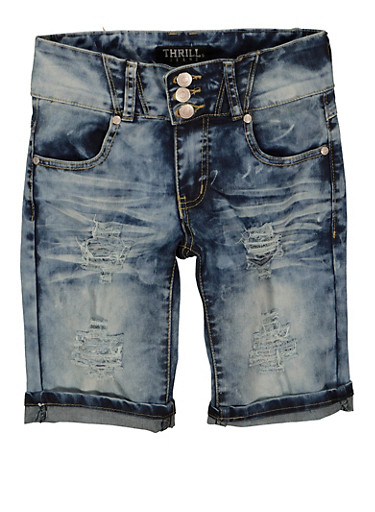 Girls Distressed Denim Bermuda Shorts,DENIM,large
