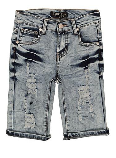 Girls Distressed Denim Shorts,DENIM,large