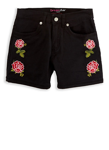 Girls 7-16 Embroidered Twill Shorts,BLACK,large