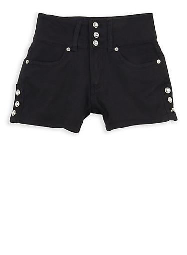 Girls 7-16 3 Button Rhinestone Accented Shorts,BLACK,large