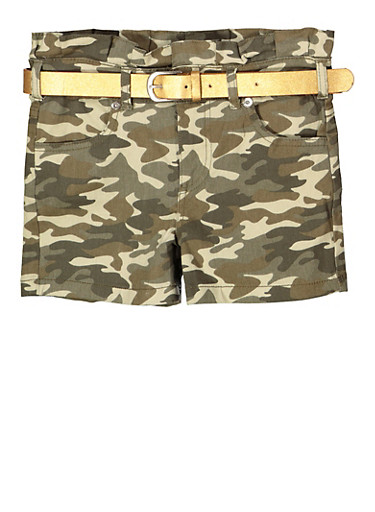 Girls 7-16 Camo Paper Bag Waist Shorts,OLIVE,large