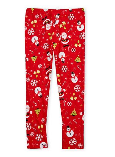 Girls 4-6x Soft Knit Christmas Leggings,CHERRY,large