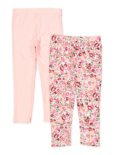 Girls 4-6x 2 Pack Floral and Solid Leggings | 1622061950032,WHITE,large