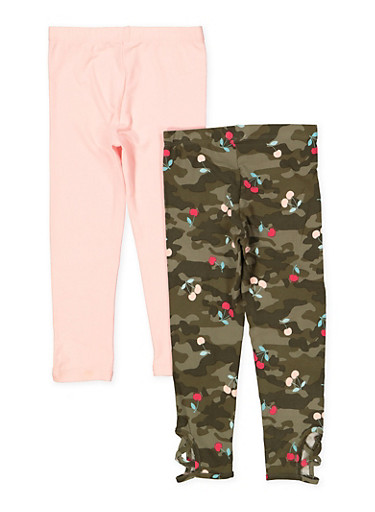 Girls 4-6x Set of 2 Solid and Camo Print Leggings,OLIVE,large