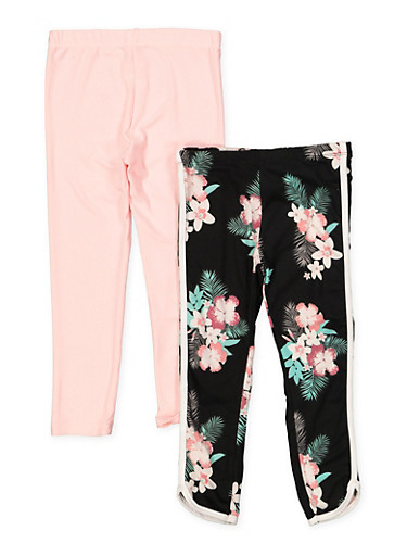 Girls 4-6x 2 Pack Floral and Solid Leggings | 1622061950035,BLACK,large