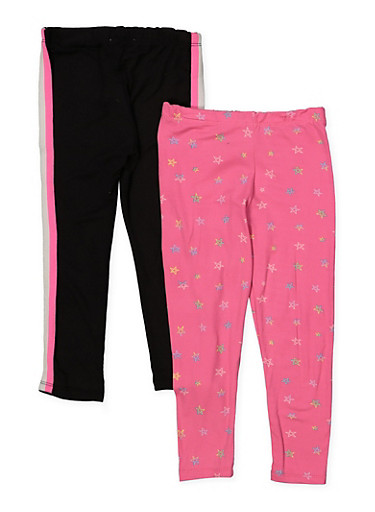 Girls 4-6x Set of 2 Solid and Star Print Leggings,FUCHSIA,large