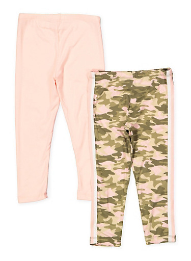 Girls 4-6x 2 Pack Camo and Solid Leggings,BLUSH,large