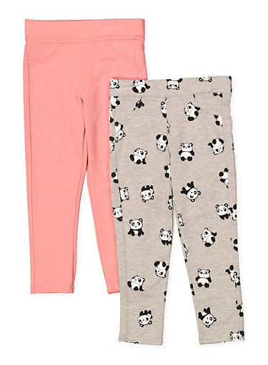 Girls 4-6x Panda Print and Solid Jeggings Set,MAUVE,large