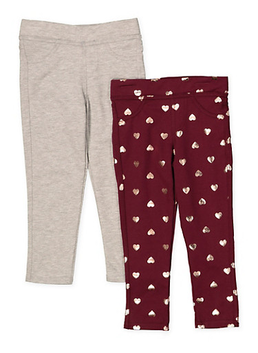 Girls 4-6x Set of 2 Solid and Printed Jeggings,WINE,large