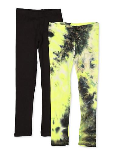 Girls 4-6x Tie Dye Leggings Twin Pack,LIME,large