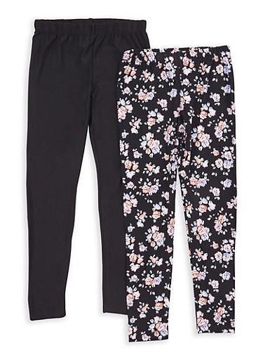 Girls 7-16 Floral Print and Solid Leggings,BLACK,large