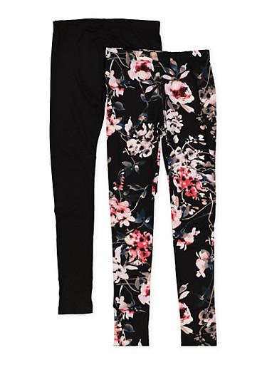 Girls 7-16 Set of 2 Black Floral and Solid Leggings,BLACK,large