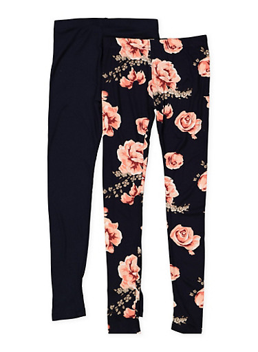 Girls 7-16 Set of 2 Floral and Solid Leggings,NAVY,large