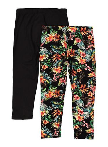 Girls 7-16 2 Pack Floral Solid Leggings,BLACK,large