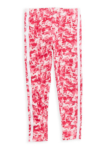 Girls 7-16 Printed Soft Knit Leggings,PINK,large