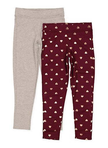 Girls 7-16 Heart Print and Solid Leggings Set,WINE,large