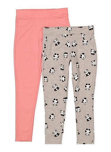 Girls 7-16 Panda Print and Solid Leggings Set,MAUVE,large