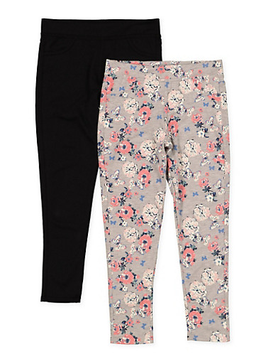 Girls 7-16 Pack of 2 Solid and Floral Pants,BLACK,large