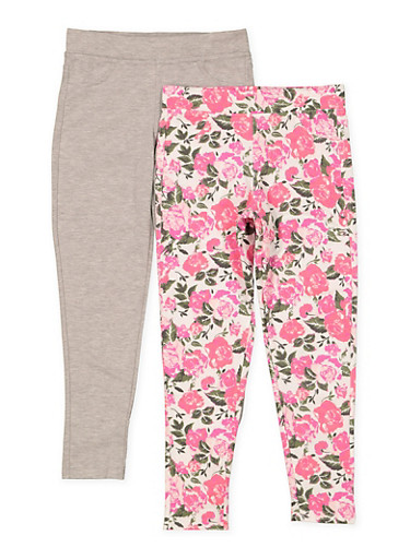 Girls 7-16 Pack of 2 Floral Print and Solid Pants,IVORY,large