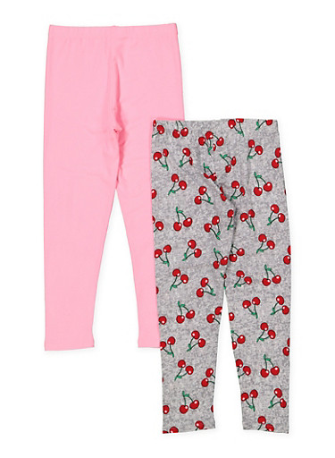 Girls 7-16 Set of 2 Solid and Cherry Print Leggings,SILVER,large