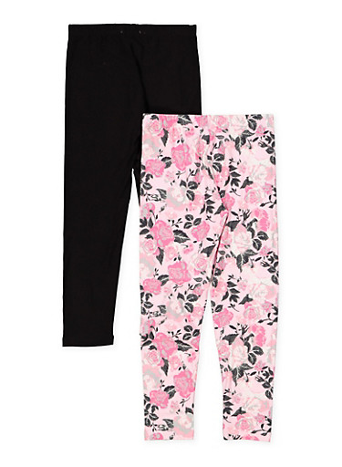 Girls 7-16 Floral and Solid Leggings Set,PINK,large