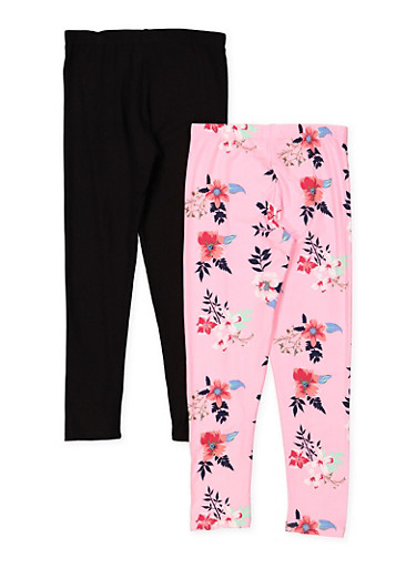 Girls 7-16 Pink Rose and Solid Leggings Set,PINK,large