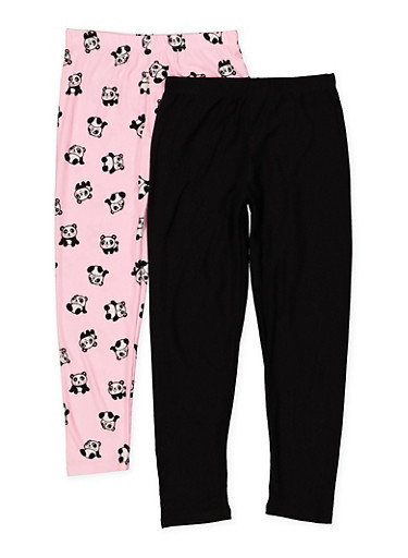 Girls 7-16 Solid And Panda Print Leggings Set,BLACK,large