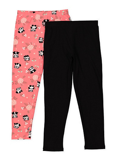 Girls 5-16 Set of 2 Floral Panda and Solid Leggings,CORAL,large