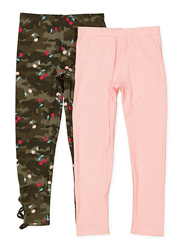 Girls 7-16 Solid and Cherry Camo Print Leggings Set,OLIVE,large