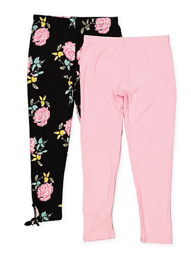 Girls 7-16 Solid and Floral Tie Leggings Set,BLACK,large