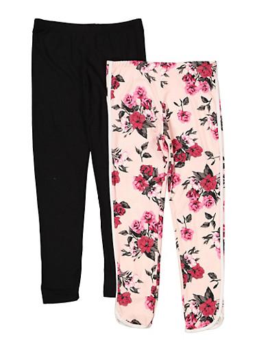 Girls 7-16 Set of 2 Solid Floral Leggings | 1623061950066,BLACK,large