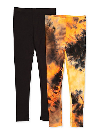 Girls 7-16 Two Pack Tie Dye and Solid Leggings,ORANGE,large