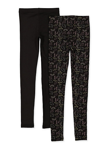 Girls 7-16 2 Pack Fleece Lined Solid and Printed Leggings,BLACK,large