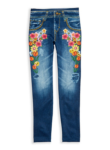 Girls 7-16 Denim Emoji Floral Print Leggings | Tuggl