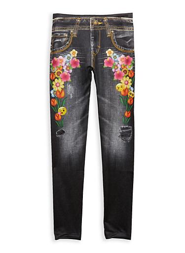 Girls 7-16 Denim Emoji Floral Print Leggings,DARK WASH,large