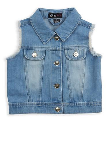 Girls 4-6x Frayed Denim Vest,DENIM,large