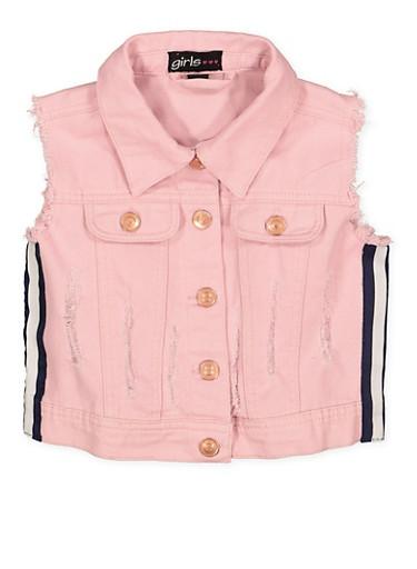 Girls 4-6x Striped Tape Frayed Denim Vest,PINK,large