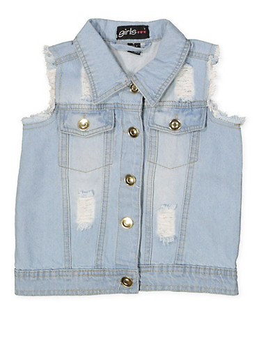 Girls 4-6x Frayed and Distressed Denim Vest,LIGHT WASH,large