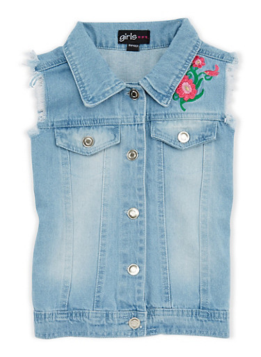 Girls 4-6x Floral Embroidered Denim Vest,LT DENIM,large