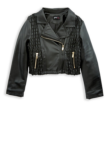 Girls 4-6x Faux Leather Ruched Moto Jacket at Rainbow Shops in Columbia, TN | Tuggl