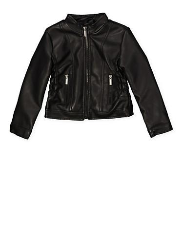 Girls 4-6x Smocked Faux Leather Jacket,BLACK,large